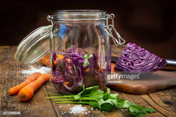 Homemade red cabbage, fermented, with chili, carrot and coriander, preserving jar on wood