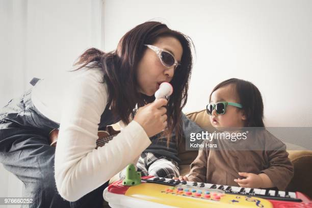 Homemade rock band wearing toy sunglasses