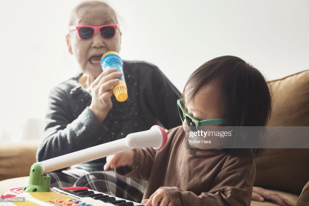 Homemade rock band wearing toy sunglasses : Stock Photo
