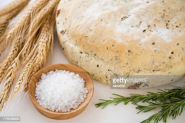 Hausgemachte round loaf of Rosmarin-Brot