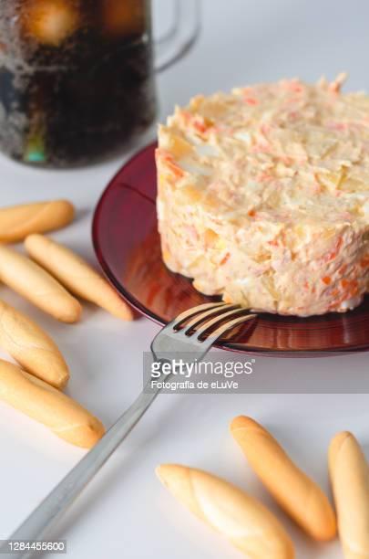 homemade russian salad, traditional spanish - jerez de la frontera fotografías e imágenes de stock