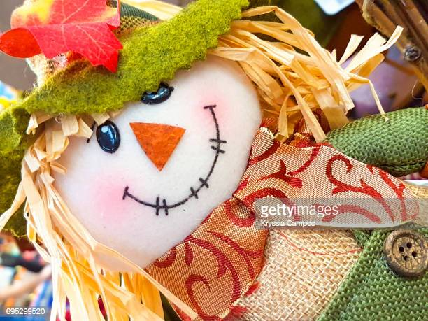 homemade scarecrow halloween decoration - scarecrow faces stock photos and pictures