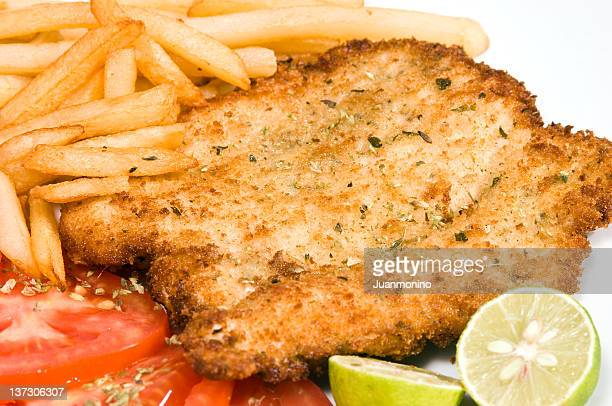 homemade schnitzel - milanese stock pictures, royalty-free photos & images