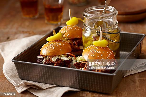 Homemade short rib sliders with pickles