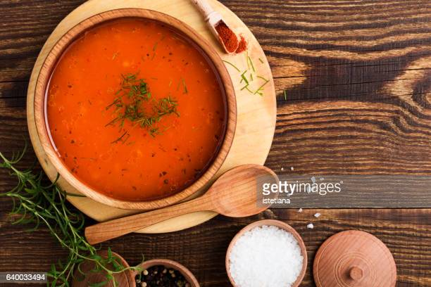 homemade spicy tomato soup - soup stock pictures, royalty-free photos & images