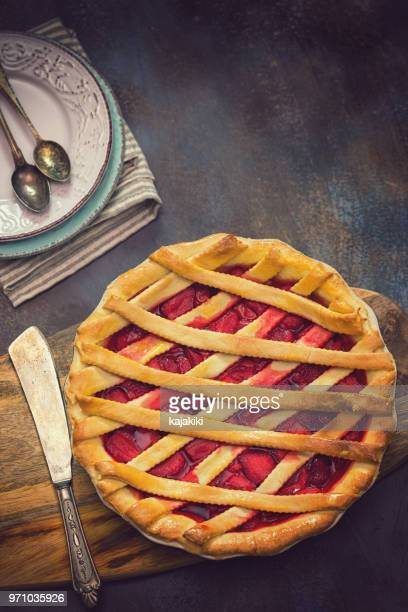homemade strawberry pie - savoury food stock photos and pictures