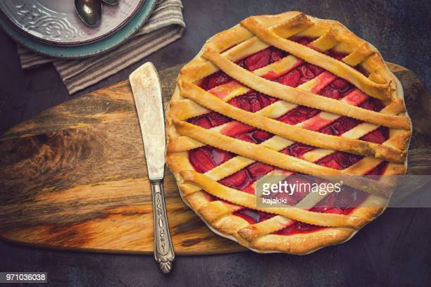 homemade strawberry pie - rhubarb stock photos and pictures