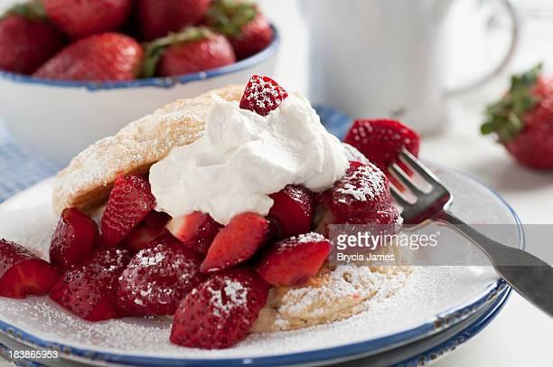 Homemade strawberry shortcake with powdered sugar