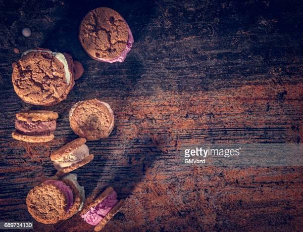 Homemade Strawberry, Vanilla and Chocolate Ice Cream Sandwich