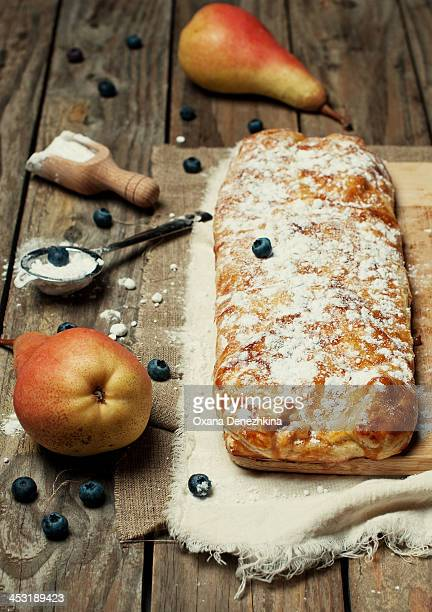 Homemade strudel with pears