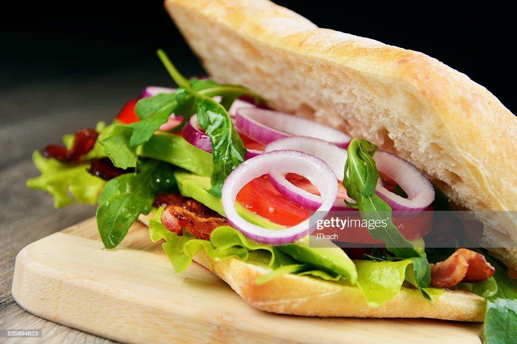 Homemade tasty sandwich : Bildbanksbilder