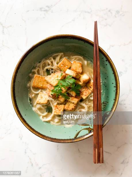 homemade tofu and miso ramen noodles soup - miso sauce stock pictures, royalty-free photos & images