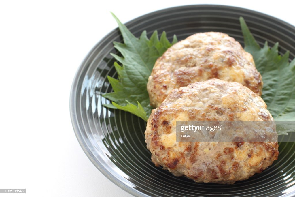 Homemade Tofu patty on dish with copy space : Stock Photo