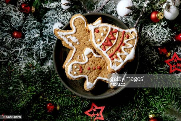 Homemade traditional Christmas gingerbread cookies with icing ornate. Gingerbread Man. Angel. Bell on ceramic plate with xmas decorations and fir...