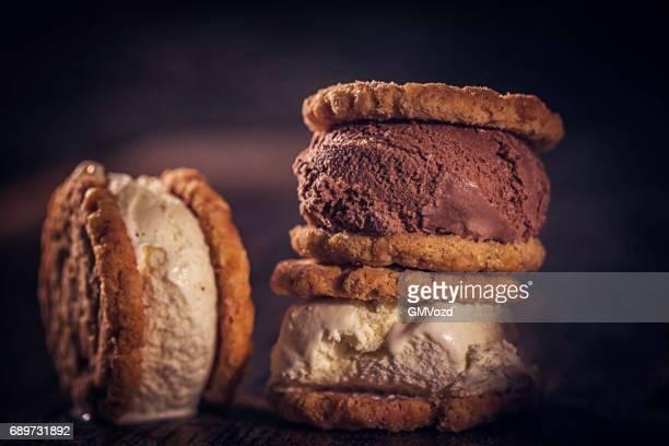 Homemade Vanilla, Chocolate Ice Cream Sandwich