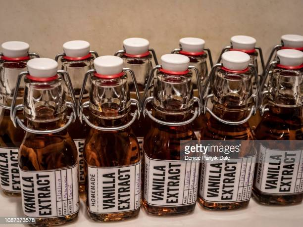 homemade vanilla extract - panyik-dale stock photos and pictures
