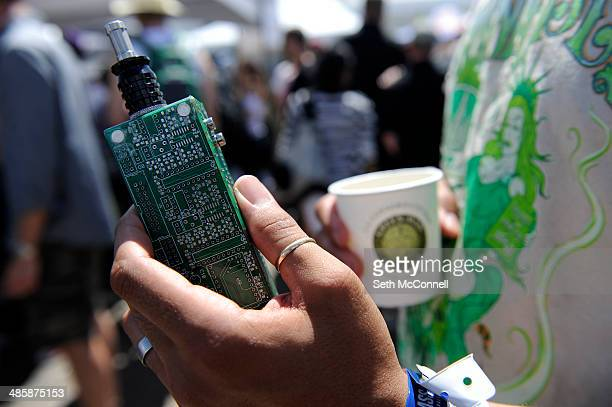 Homemade vaporizer during the High Times Cannabis Cup at Denver Mart in Denver Colorado on April 20 2014 Event organizers are expecting 37000 people...