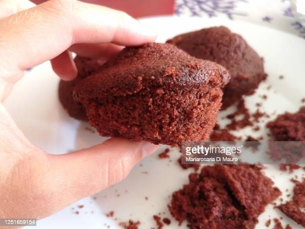 homemade vegan muffin with cocoa and red velvet - チョコレートチップマフィン ストックフォトと画像