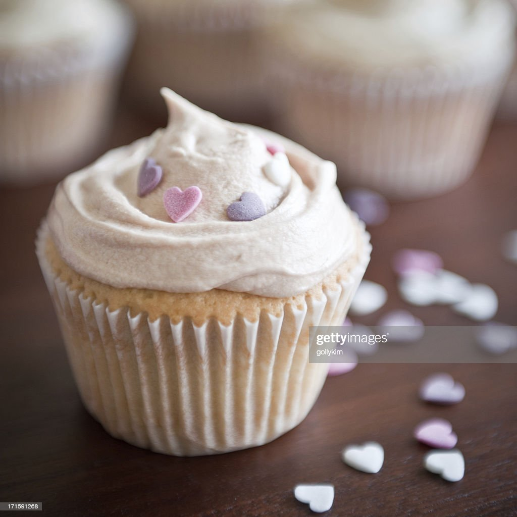 Homemade White Frosted Cupcake : Stock Photo