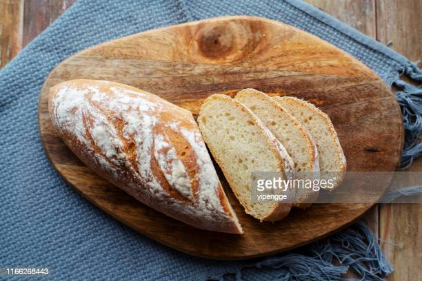 homemade wholegrain bread slices - baguette stock pictures, royalty-free photos & images