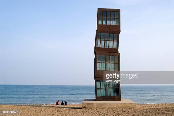 Homenatge a la Barceloneta by Rebecca Horn, a modern art sculpture on the beach of Barceloneta, Barcelona, Spain