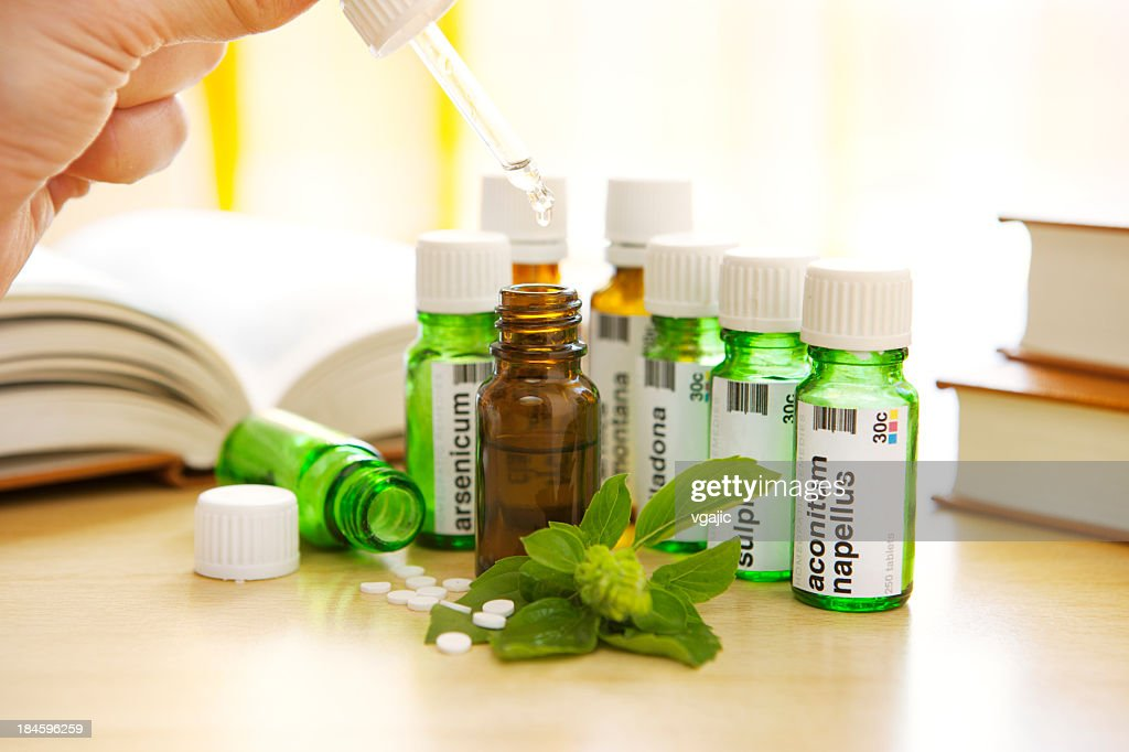 Homeopathic Medicine: Remedies and Books : Stock Photo