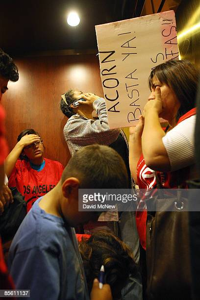 Homeowners and ACORN activists are stuck in an elevator as they visit the new offices of the forprofit loan modification service company Centre Legal...