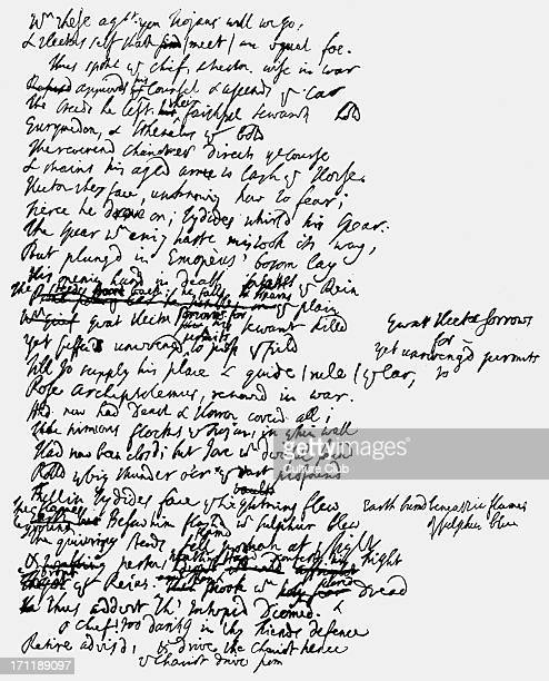 'Homer' a page 'Homer' a page of Alexander Pope's handwritten manuscript AP English author poet 21 May 1688 30 May 1744