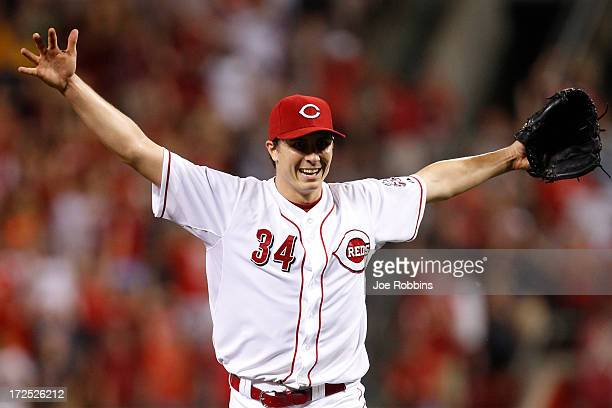 Homer Bailey of the Cincinnati Reds celebrates after throwing a nohitter against the San Francisco Giants at Great American Ball Park on July 2 2013...