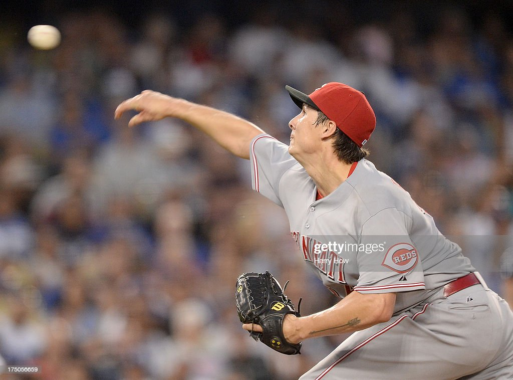 Homer Bailey #34 of the Cincinnati Reds pitches during the third inning against the Los Angeles Dodgers at Dodger Stadium on July 26, 2013 in Los Angeles, California.