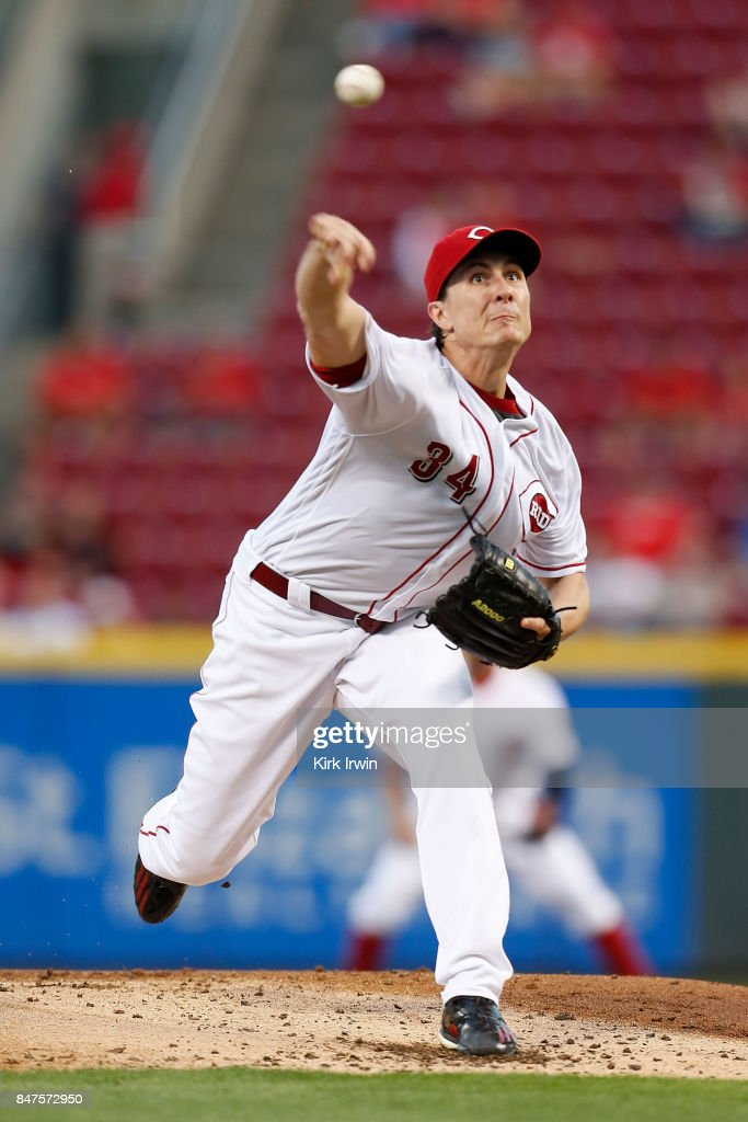 Homer Bailey #34 of the Cincinnati Reds throws a pitch during the second inning of the game against the Pittsburgh Pirates at Great American Ball Park on September 15, 2017 in Cincinnati, Ohio.