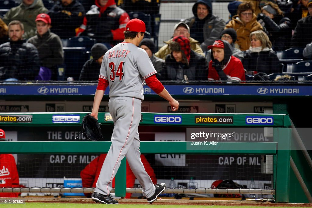 Homer Bailey #34 of the Cincinnati Reds walks off the field after being pulled in the fifth inning against the Pittsburgh Pirates at PNC Park on April 5, 2018 in Pittsburgh, Pennsylvania.