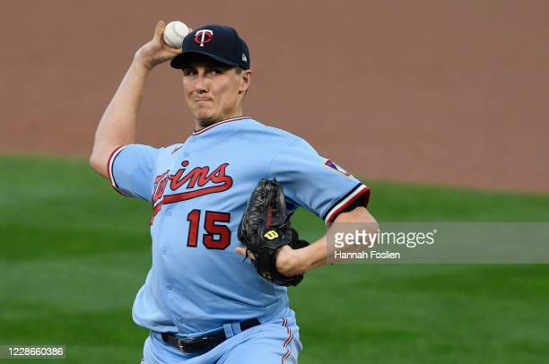 Homer Bailey of the Minnesota Twins delivers a pitch against the Detroit Tigers during the first inning of the game at Target Field on September 22...