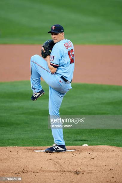 Homer Bailey of the Minnesota Twins delivers a pitch against the Detroit Tigers during the game at Target Field on September 22, 2020 in Minneapolis,...