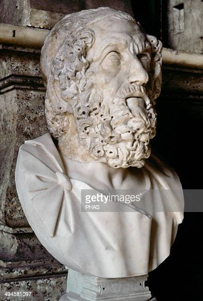 Homer Greek epic poet Bust Copy of an original from 2nd century BC Capitoline Museums Rome Italy Rome Italy