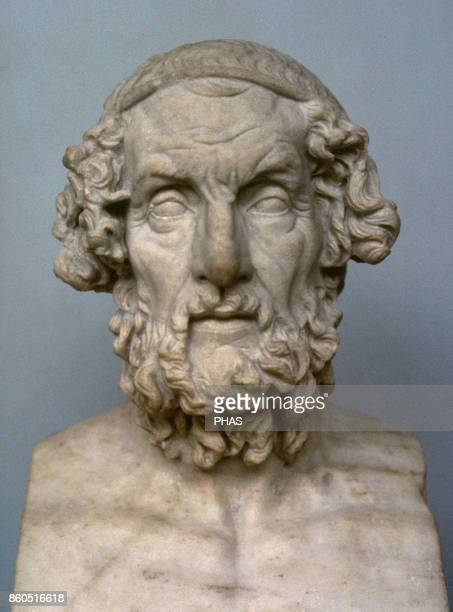 Homer Greek epic poet Bust Roman copy from a Greek original one of the 2nd century BC Marble Found in Baiae Italy British Museum London England