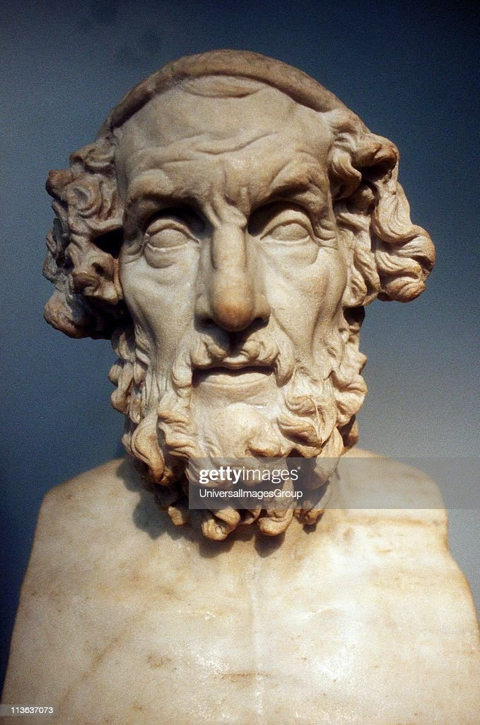 Homer (8th century BC) Greek epic poet credited with authorship of the Iliad and the Odyssey. Roman copy of lost Greek bust of 2nd century BC. : News Photo