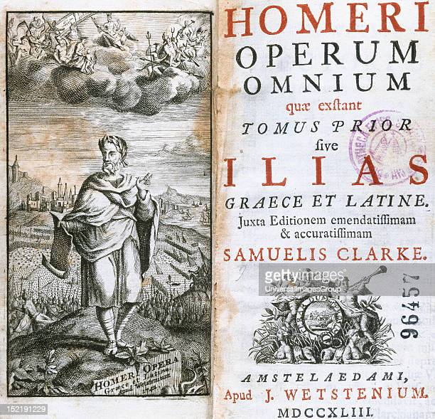 Homer Greek epic poet Frontispiece and cover of the Complete Works Volume First The Iliad Set in the Trojan War Amsterdam Episcopal Library Barcelona...