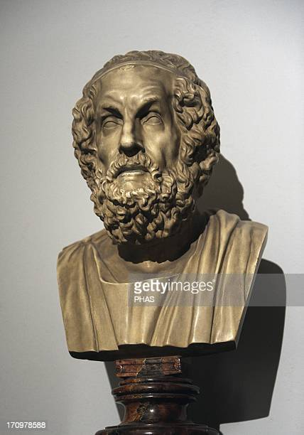 Homer Greek epic poet Modern copy of a hellenistic original dated between 200150 BC Pergamon Museum Berlin Germany