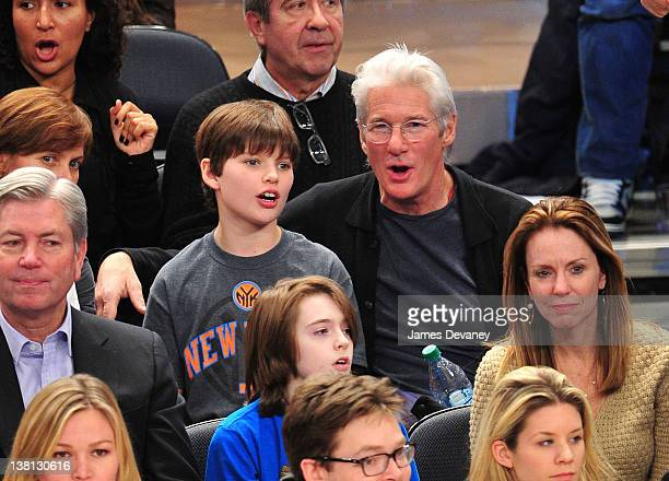 Homer James Gere and Richard Gere attend the Chicago Bulls VS New York Knicks at Madison Square Garden on February 2 2012 in New York City