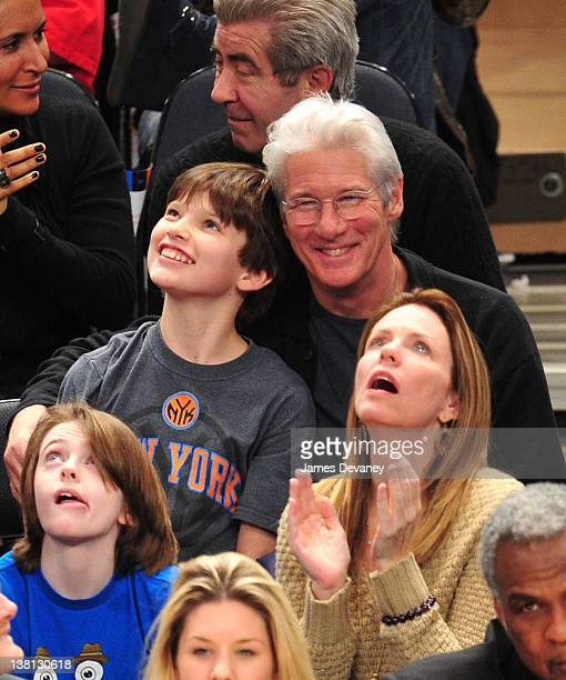 Homer James Gere and Richard Gere attend the Chicago Bulls VS New York Knicks at Madison Square Garden on February 2, 2012 in New York City.