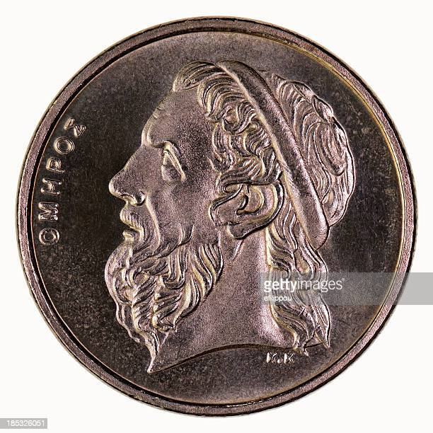 Homer on 50 drachma coin