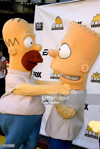 Homer Simpson and Bart Simpson arrive at The Simpsons 400th Episode Block Party held at the Fox Lot New York Street on May 8 2007 in Los...