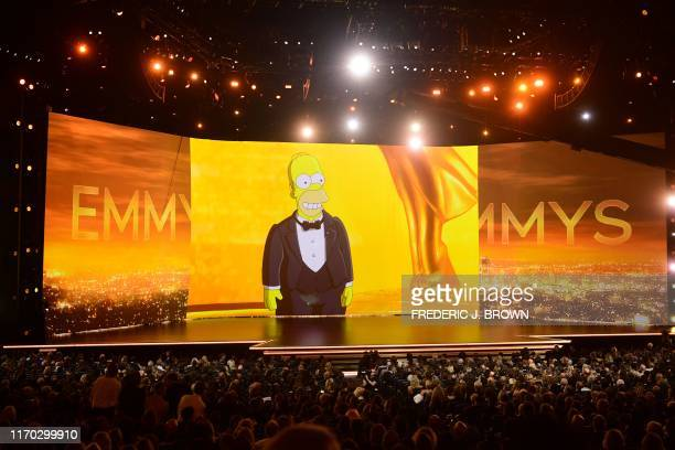 Homer Simpson appear onscreen onstage during the 71st Emmy Awards at the Microsoft Theatre in Los Angeles on September 22 2019