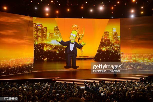 Homer Simpson appears onscreen onstage during the 71st Emmy Awards at the Microsoft Theatre in Los Angeles on September 22 2019