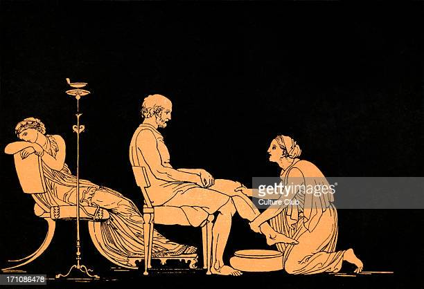 Euryclea discovers Ulysses Homer blind Greek poet c 800 600 BCE Trojan War epic illustration after Flaxman