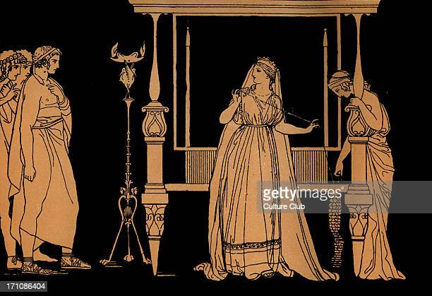 Penelope surprised by the suitors Homer blind Greek poet c 800 600 BCE Trojan War epic illustration after Flaxman