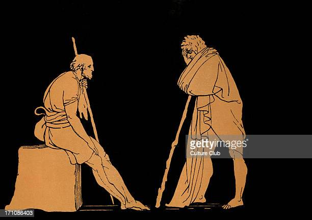 Ulysses conversing with Eumaeus Homer blind Greek poet c 800 600 BCE Trojan War epic illustration after Flaxman