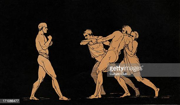 Ulysses preparing to fight with Irus Homer blind Greek poet c 800 600 BCE Trojan War epic illustration after Flaxman
