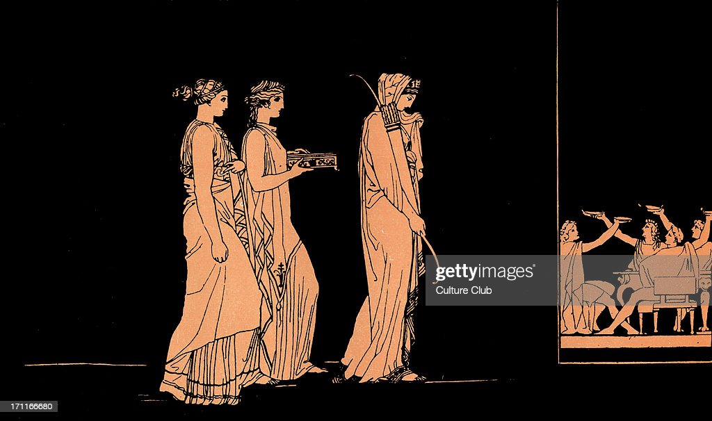 Homer, The Odyssey.  Penelope, wife of Ulysses (Odysseus), carrying bow of Ulysses to the Suitors, she will marry the suitor who can string it and then shoot an arrow through a line of twelve axes, a contest only her husband can win : News Photo